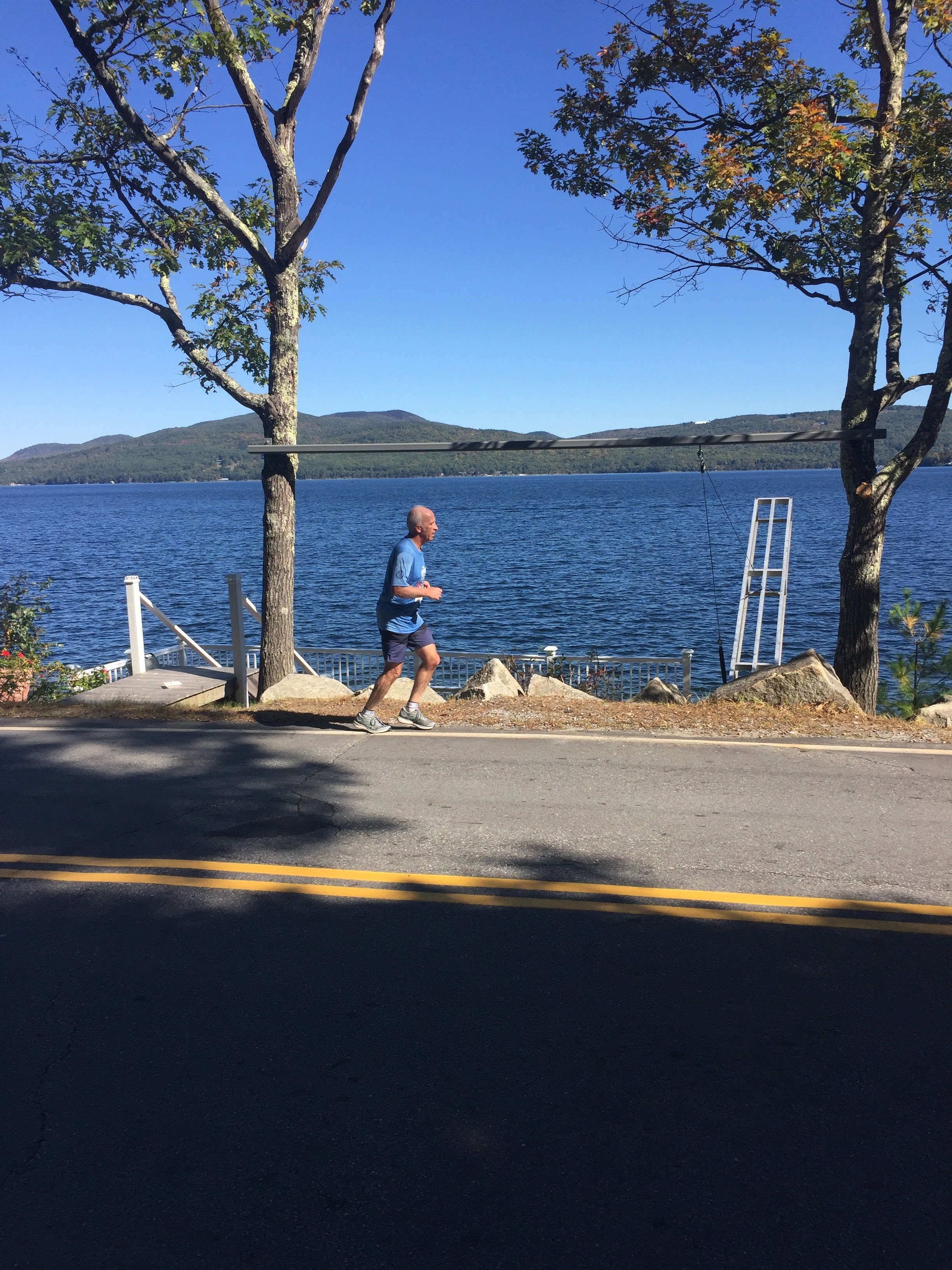 I ran intervals on a treadmill. And I ran a marathon in New Hampshire..